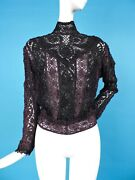 Museum Quality Victorian 19th C Hand Made Black Cluny Lace Blouse