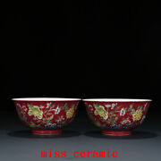 5.5 Chinese Porcelain Qing Dynasty Daoguang Mark Red Famille Rose Flower Bowl
