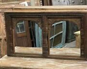 Vintage Arch Mirror Rustic Hand Carved Jharokha Wall Mirror Earthy Natural Wood