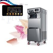 Us Ship 20l/h Stand Type Commercial 3 Flavors Ice Cream Maker Machine 110v