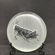 Clear Glass Coaster Tile Or Candle Holder Pressed Glass Cricket Insect Euc 4andrdquo