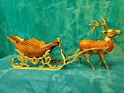 Vintage Heavy Brass And Carved Wood Santa Sleigh And Reindeer Christmas Taiwan
