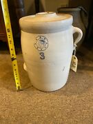 3 Gallon Indian Head Louisville Pottery Stoneware Butter Churn Antique 14andrdquotall