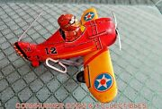 Vintage 1950's Marx Turn Over Plane Tin Wind Up Harder To Find Toy Working