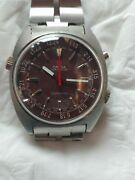 Omega Cronostop Manual Wind 1970 Burgundy Dial All Stainless Steel. Full Size...