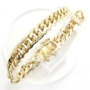 18k Yellow Gold Bracelet About20.5cm Curb Chain 6sides Double Free Shipping Used