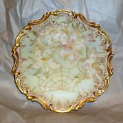 Limoges Hand Painted Spider Web Charger Scroll Scalloped Rim 1890's Coiffe 9.25