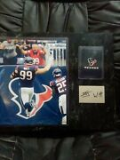 J.j Watt Signed Plaque With Image And Poker Card