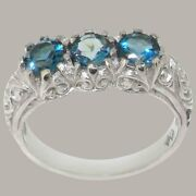 18ct White Gold Natural London Blue Topaz Womens Trilogy Ring - Sizes J To Z