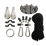 Water Sports Kayak Canoe Anchor Trolley Kit Cleat Rigging Pulleys Pad Eyes F4r8