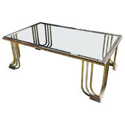 1970s Mid-century Modern Steel Chromed And Brass Coffee Table By Banci Florence