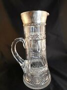 Antique American Brilliant Abcg Abp Cut Glass Sterling Silver Tankard Pitcher