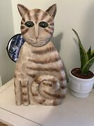 Boyds J Dudley Flat Cat Tabby Wooden Hand Carved