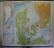 Schulwandkarte School Wall Map Denmark Dk 82 11/16x74 3/8in Top 1964