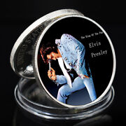 999.9 Silver Plated Metal Coin Elvis Presley Famous Pop Star Challenge Coin