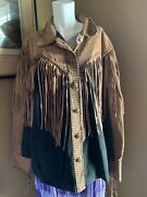 Bob Mackie Wearable Art Leather Western Jacket With Fringe Brown And Black Xl Nice