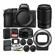 Nikon Z 50 Mirrorless Camera With Z 16-50 And 50-250 Vr Lens And Adapter + Bundle