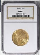 1911 10 Gold Indian Head Eagle Ngc Ms 63