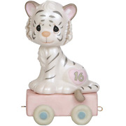 Precious Moments, 16 And Feline Fine, Birthday Train Age 16, Bisque Porcelain