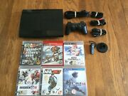 Sony Playstation 3 Super Slim 500gb Console + 6 Games Bundle Lot Ps3 System