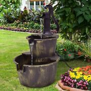 Antique Rustic Style Look Wooden Barrel Waterfall Fountain With Pump 2 Tiers Out