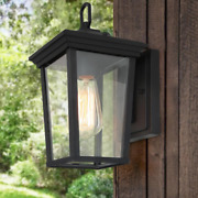 1-light Outdoor Lantern Sconce Wall Light With Clear Glass For Patio Or Porch