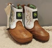Nwt John Deere Leather Booties Baby Crib Shoes 4 Infant Brown White Embroidered
