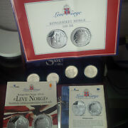 24 Coins .925 Sterling Silver Coin Set Norway Norge 100 Year History 1905 2005