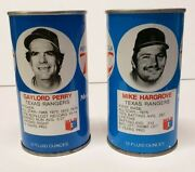 Vintage Rc Cola Cans2 1977 Mlb Texas Rangers Gaylord Perry And Mike Hargrove