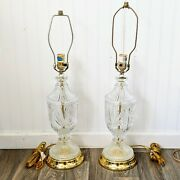 Pair Of Large Glass Table Lamp Gold Hardware Detachable Harps With Finials