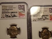 Jefferson Error Nickel Mated Set Of 1962 D Separated Au58 Ngc 58 Set