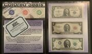 Multi Lot Of Currency Money Colored Seal Notes Silver Certificates Coins