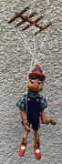 Vintage Wooden Pinocchio Marionette Puppet Doll 18 Tall Hand Carved And Painted