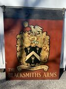Vintage 46andrdquox 36andrdquox 1/4andrdquo Thick Hand Painted Steel Blacksmith 2 Sided Business Sign