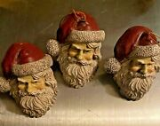 House Of Hatten Santa Claus Ornament 2.5 High, 3 Each In The Set, Vintage