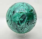 5.63 Amazing Polished Malachite Sphere With Stand No Filler - Congo E535