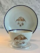 Chinese Export American Eagle Tea Bowl Cup Saucer G. W. Initials C. 1790