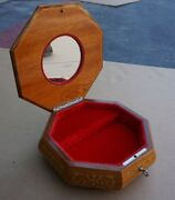 Vintage Rare Reuge Edelweiss Swiss Mirrored Jewelry Wood Octagon Music Box