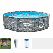 Summer Waves Active 12' Stone Print Metal Frame Above Ground Pool Set Open Box