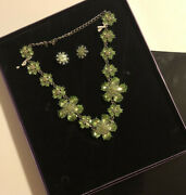 Suzanne Somers Green Flower 20 Necklace And Clip On Earrings