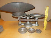 Antique Chatillon Iron Balance Scale 17h Vintage New York Usa Bakers Grocery Pan