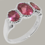 18ct White Gold Natural Pink Tourmaline Womens Trilogy Ring - Sizes J To Z