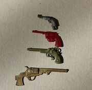 Vintage Lot Of 4 Charms Gumball Prize Toy Pistols Keychain