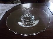 Clear Depression Glass Tidbit Tray Platter With Center Ornate Handle By 12w