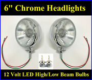 6 Led High Low Beam Chrome Headlights Golf Cart Tractor Antique