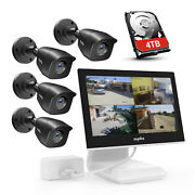 Sannce 2/4pcs 1080p Cctv Outdoor Camera 4ch 10.1 Lcd Monitor Security Dvr 0-4tb