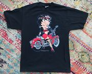 Vintage 90s Betty Boop Retro Motorcycle Chopper T Shirt Size Large 1992 Mens