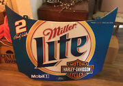 """Harley Davidson Miller Lite Rusty Wallace Sign Hood Ford Mobil 35""""x29"""" Bar Cave"""