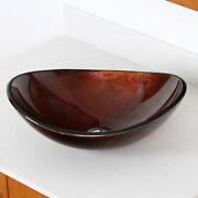 Rv Vanity Elite 1411 Unique Oval Tempered Glass Bathroom Vessel Sink With Drain
