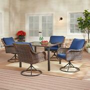 Outdoor Dining Set 5 Piece Patio Glass Top Table 4 Swivel Chairs W/blue Cushions